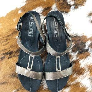 Mephisto Bronze Metallic Wedge Sandals size 41/11
